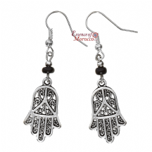 Moroccan Silver Earrings with Black Beads Hamsa Design
